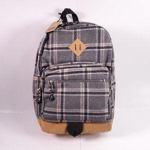 NEW Steve Madden Varsity Flannel Backpack Grey